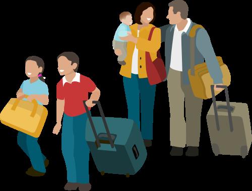 familia com bagagem